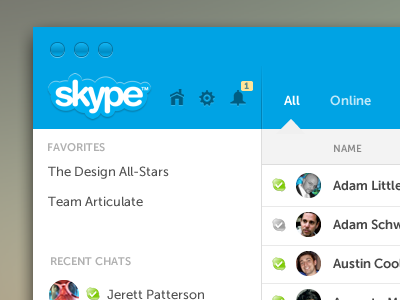 My Skype Version ui user-interface design clean icons app