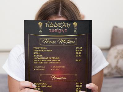 Menu Design hokah bar menu bar hookah menu menu design menu