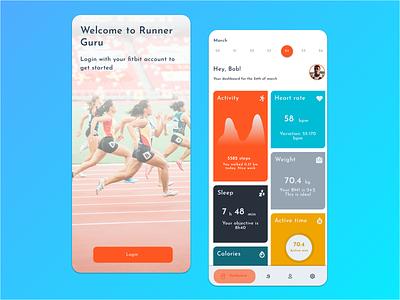 Runner Guru fitbit running app ui app web uiux