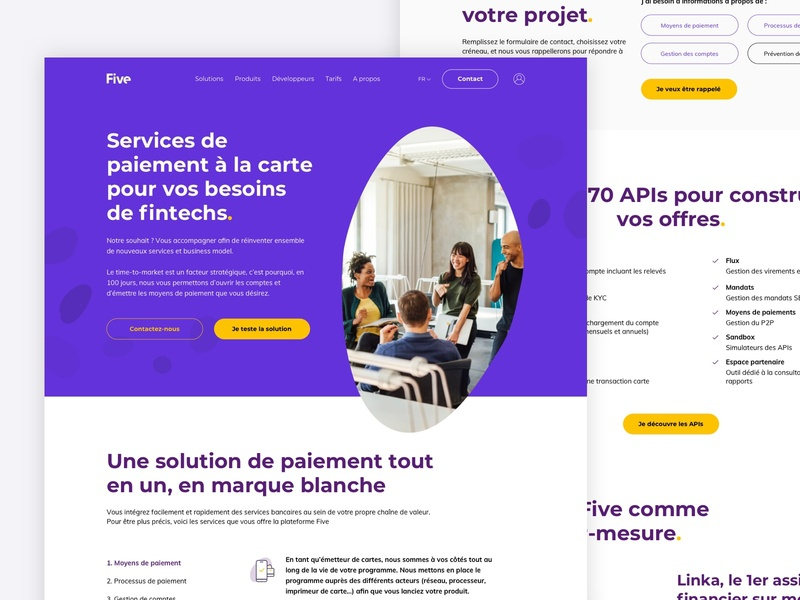 Five - Solution page solution payment offre webdesign ux web uidesign clean ui uiux design minimal