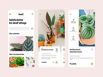 Leaf mobile brand mobile ecommerce shop vegetal plant leaf web uidesign identity branding ui design clean minimal