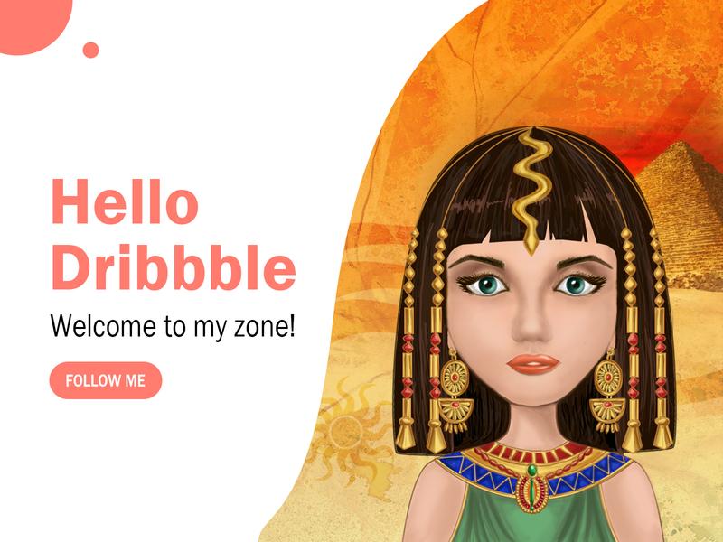 Cleopatra cute cartoon egypt beauty charming cleopatra typography ui design illustration