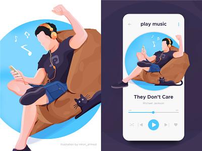 Music App / Music Player and Illustration play music song listening enjoy cat human player music player beats music music app mobile app ux ui design app vector illustration digital art digital illustration