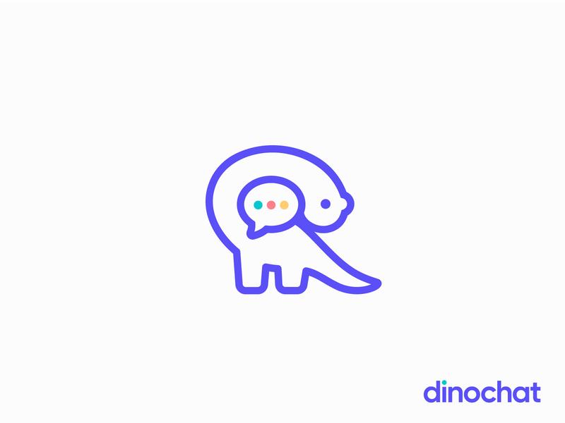 dinochat logo | chatbot platform future chat social conversation social chat chat app digital vector text icon design modern clean blue dinosaur chatbot bot message icon dinosaur dinochat dino