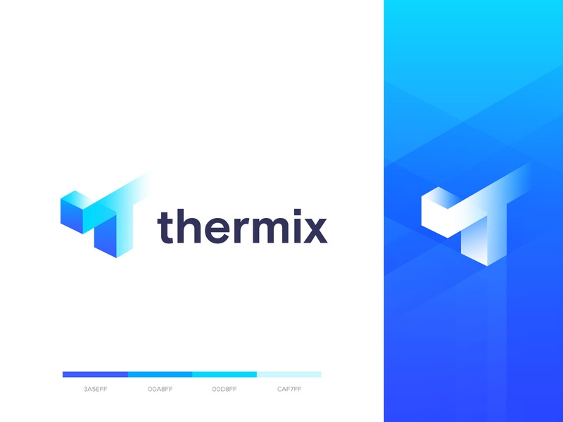 thermix logo design t monogram t mark logo brand design t modern logo creative logo corporate logo designer modern logo t logo logo idea app web isomatric typography logomark logotype branding logo design