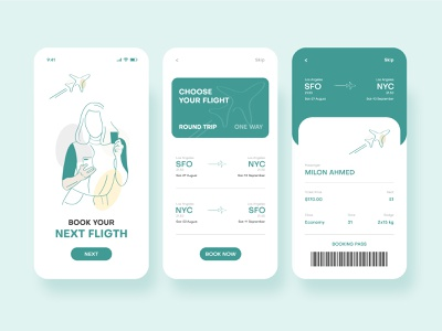 Airline Ticket Booking Mobile App UI devignedge flight booking app ticket airplane airline airport travel app travel color flight uidesign ui ui design mobile app design mobile app mobile clean design booking app app design app