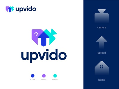 upvido logo design (a real estate video app logo concept) corporate logo conceptual logo logo ideas logo design trend 2020 modern logo design overlay logo design best logo designer upload logo upload icon video icon home real estate realestate logo video app logo devignedge app logo branding brand logo design logo
