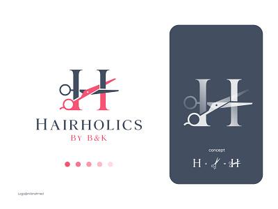 Hairholics (Hair Salon Logo Concept) beauty salon logo beauty salon premium barbershop logo premium hair salon logo creative salon logo hair cut company logo barbershop logo barber logo hair salon logo salon logo best logo designer logo ideas conceptual logo creative logo logotype devignedge brand branding logo design logo