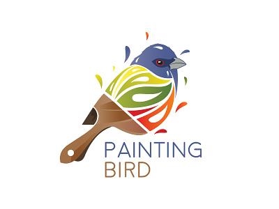 Painting Bird beautiful bird paintbrush painting design creative bird logo bird paint