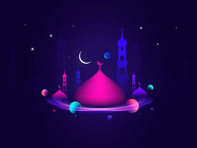 Ramadan Kareem dark space gradiant mosque kareem ramadan colorful illustration