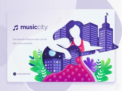 Music City Illustration figurative illustration girls guitar women colorful city music illustration