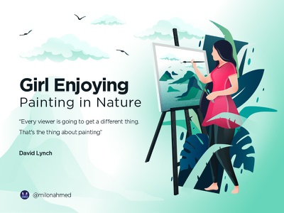 White Version painting leaf illustration women drawing nature enjoying canvas artist gilr digital art