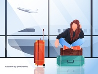 Girl Missed Her Flight Illustration