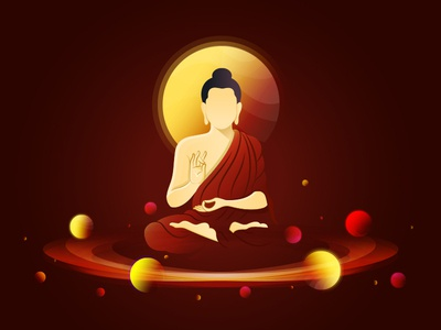 Buddha In Space Illustration pray buddhapurnima illustration maditation space buddha digital art
