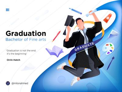 Hero Image Illustration vector digital illustration happy bachelor bachelor in fine arts graphic design student graduation bfa degree student fine arts graduate