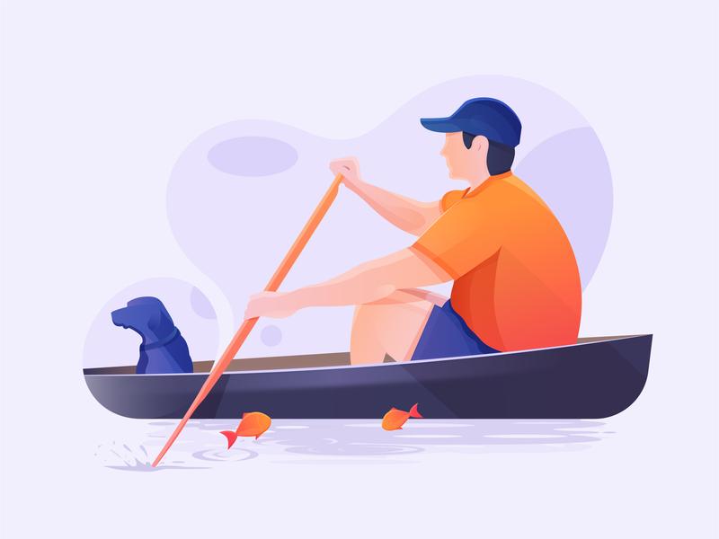 Paddling Time digital illustration fish dog figure nature man life blue orange color river people character paddling boat illustraion digital art