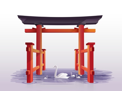 Torri Gate Lake, Japan Illustration oranges freedom torrigate japan modern digital trendy design web uiux vector water digital illustration bird orange lake duck illustration digital art shrine japan torrigate