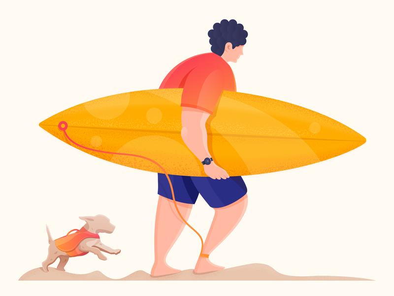 Surf Time digital illustration free time funny enjoying illustration beach man figure blue orange dog surfboard character surf digitalart