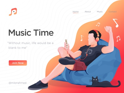 Music Time Illustration human gradient color yellow sofa funny time music player cat figure orange illustraion listening headphone beats men enjoying happy time music character digital illustration