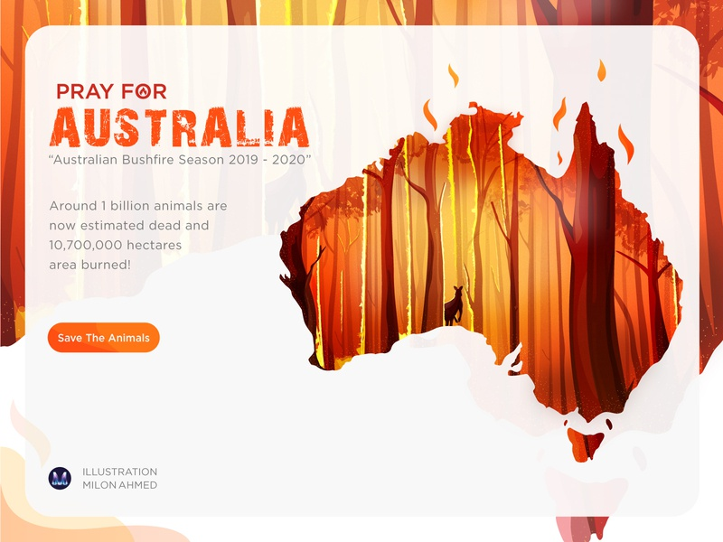 Hero image Illustration For Australia Bushfire Season 2019-2020 flame map weather wildlife save earth kangaroo jungle forest pray fire bushfire australia save animal save the animals orange digital art design digital illustration illustration