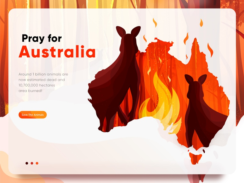 Hero image Illustration For Australia Bushfire Season 2019-2020 tree orange animals wildfire save earth weather save the animals pray kangaroo map forest flame fire jungle vector bushfire australia illustration digital illustration digital art