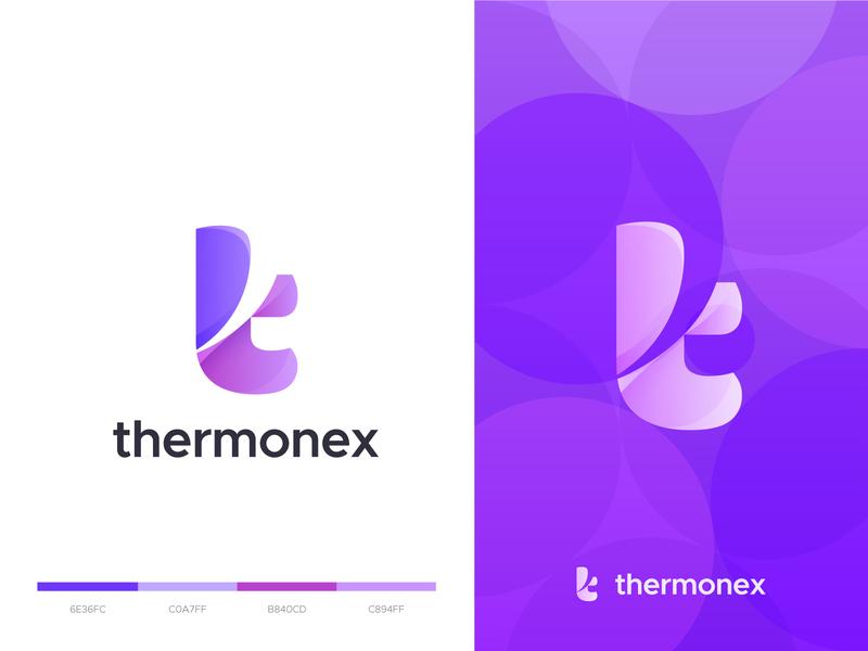 thermonex - logo design logobrand company logo tech purple letter t symbol overlay vector thermonex t logo letter logomark colorful modern technology icon branding app logo logodesign