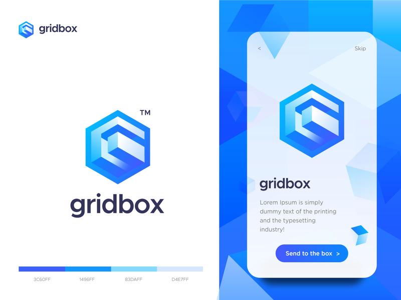 gridbox - logo design logomark box grid blue web app shape icon technology logodesign branding vector logotype g letter g 3d brand modern logo