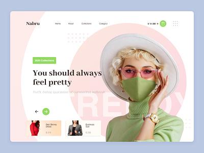Nabru clean mask dress clothing shop web design ui  ux fashion website store ecommerce