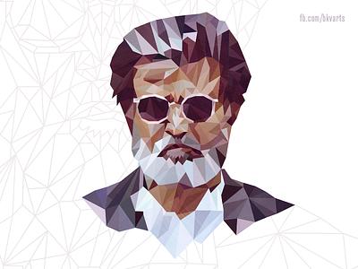 Ka-Poly poly portrait low poly portrait actor cinema indian superstar rajini rajinikanth kabali