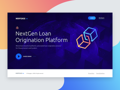 Landing page concept finance loan mortgage landing page homepage blockchain