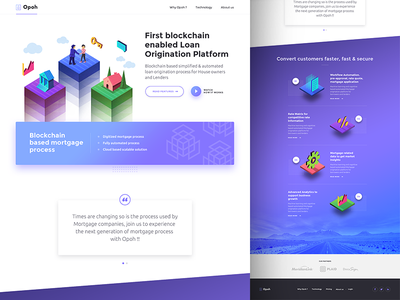 Opoh Homepage ux ui landing page blue illustration isometric blockchain loan mortgage homepage