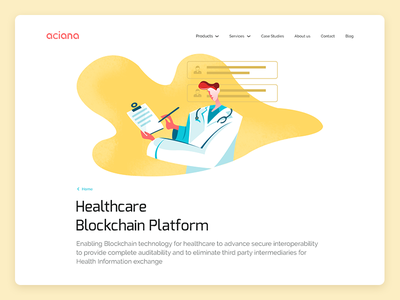 Aciana Product Page vector ux ui blockchain doctor product responsive webdesign illustration website healthcare