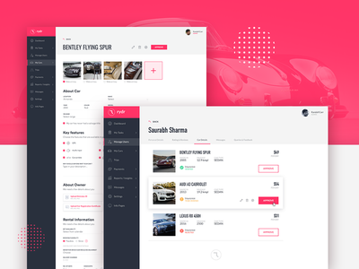 Rydr Admin Panel dashboard admin airbnb automobile pink inerface ux ui marketplace car