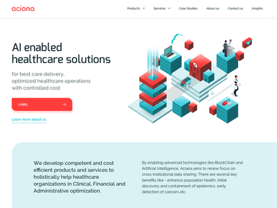Aciana Homepage technology blockchain healthcare ui  ux homepage design website builder landing page illustrated website illustrations isometric artificial intelligence