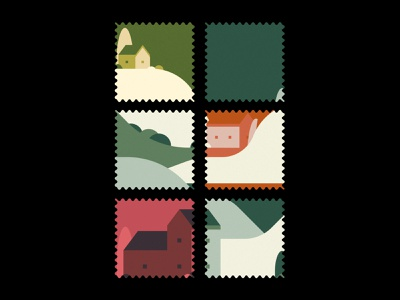 Settled Set postage stamp vector illustration stamp geometric design vector buildings illustration
