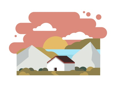 Settling in for Life with Dribbble nature sunset water valley mountains architecture buildings vector illustration