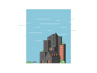 Windy illustrator line geometric vector illustration buildings architecture