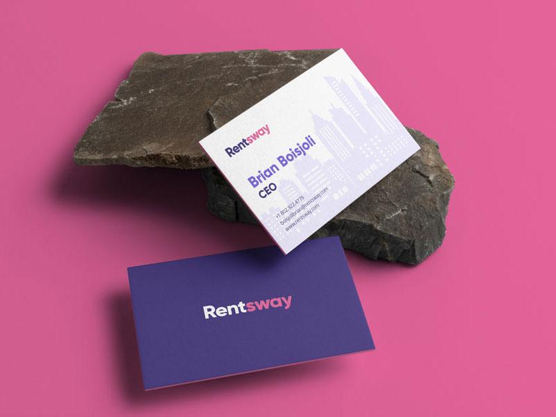 Rentsway new york house home apartment rent gilroy logotype purple pink wordmark identity branding logo