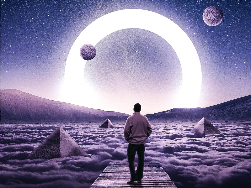 Walk To The Future pyramid shiney future planet stargazing moonlight surealism manipulation style design digital art digital imaging