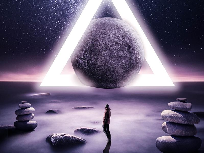 Triangle electro stargazing future stars moon photoshop art style surealism moonlight manipulation digital imaging digital art design