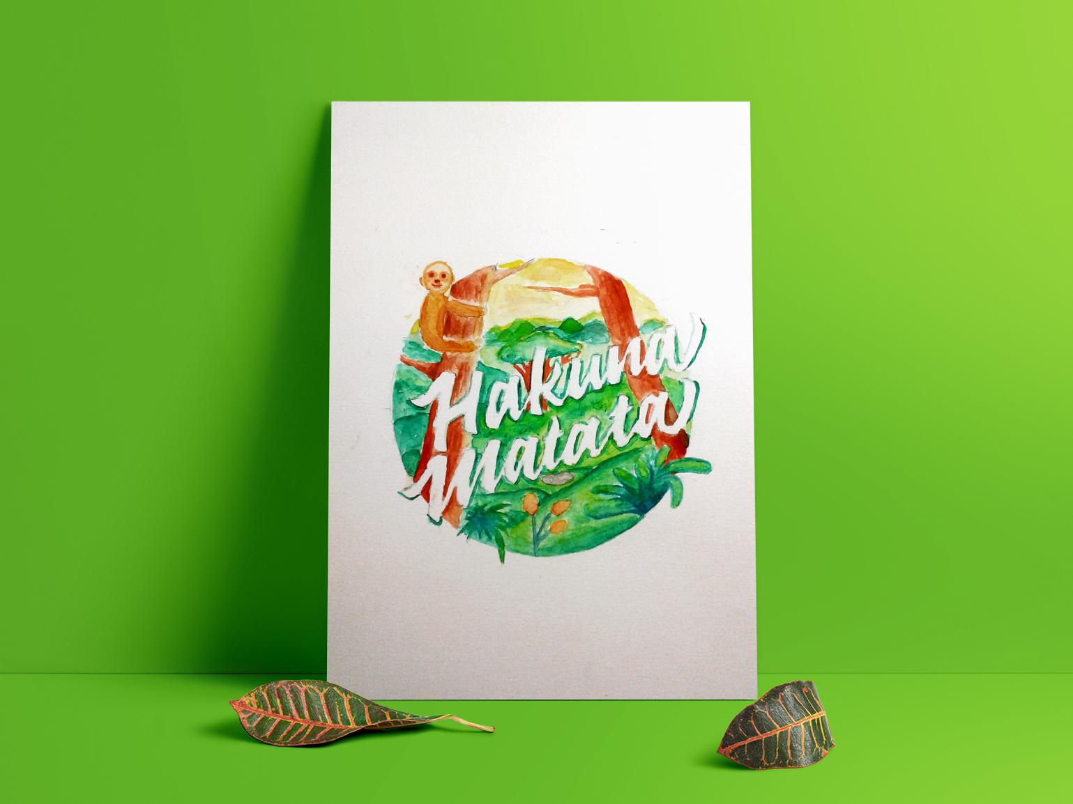 Hakuna Matata hakuna matata peace jungle letters lettering digital 2d art photoshop art watercolour vector style design illustration