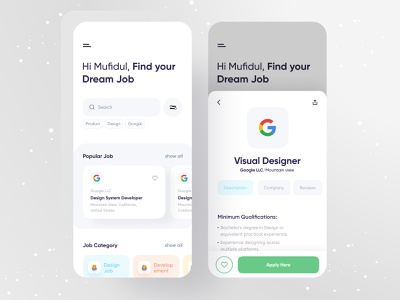 Job finder app mufidul appjob design productdesign job portal figma google app designer jobapp applications jobs list job finder jobs design job app design app concept minimal uxdesign uidesign