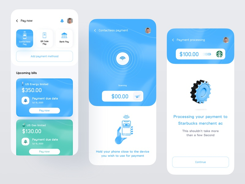 Finance app - Contactless Payment scanning bill payment uxdesign uidesign transaction product design ios14 financeapp finance dashboad business application budget app design app concept analytics dashboard analytics chart analytics app analytics 3d