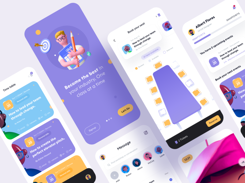 Educational app for Professionals user experience userinterface event app e-learning education edtech design system class courses online school student reading learning platform learning study students school mobile app minimal education app