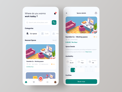 Real estate | Co-working space colorful uidesign uxdesign minimal product page realestate real estate app real estate agency realestateagent property management property apartment design house reantal app homerental rental app dribbble best shot realestate app ofspace agency cards ui onboarding screen