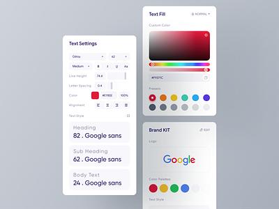 Editor Panel design | Light Version component designsystem cards ui brand kit edit product design dashboad websitedesign minimal colors color palette uxdesign builder uidesign card popup