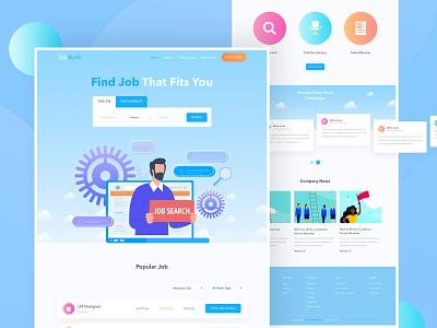 JobHunt - Job Portal Website ui8 kit table design branding homepage product job landing design bitcoin illustration table typography minimal webdesign websitedesign landingpage uxdesign uidesign hire job
