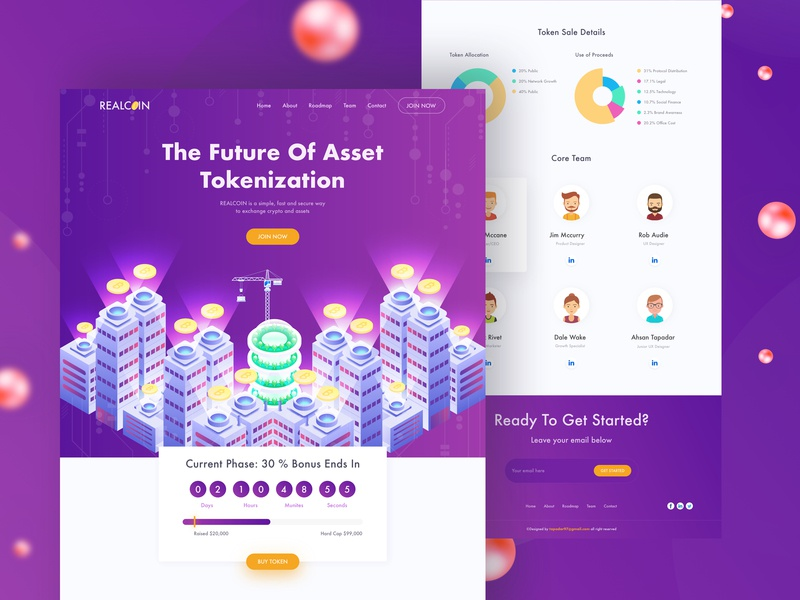ICO Realestate Landing ico table design color homepage table illustration properties asset header product typography minimal websitedesign webdesign landingpage uxdesign uidesign bitcoin cryptocurrency real estate