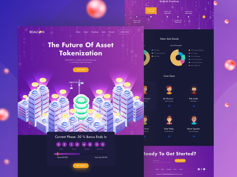 Realcoin - ICO For Realestate Dark theme design product card table design homepage block chain dark theme color table minimal illustration product header typography landingpage uidesign uxdesign websitedesign webdesign bitcoin cryptocurrency