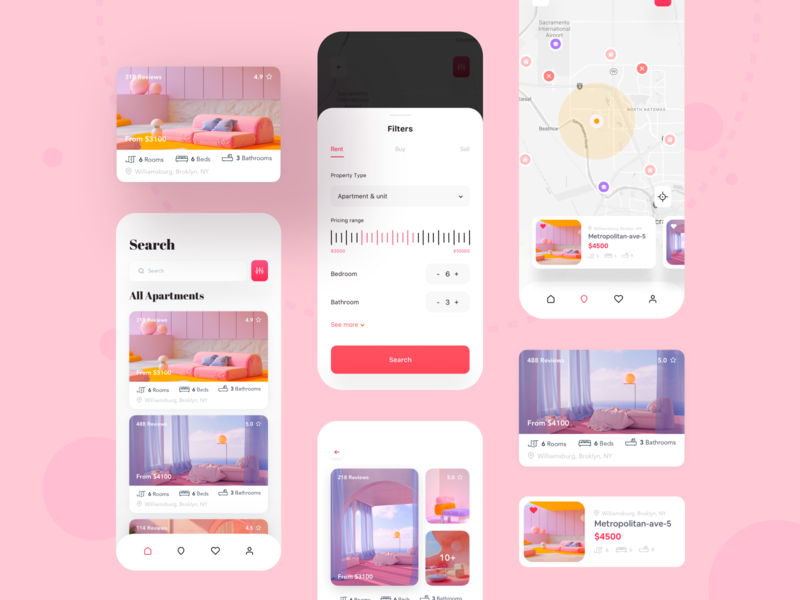Apartment rental app 🏠 apartment filter hiwow dribbble designer userinterface user experience uidesigns trending design trend 2019 product designs navigation modern app design maps filters colorful app typography minimal uxdesign uidesign